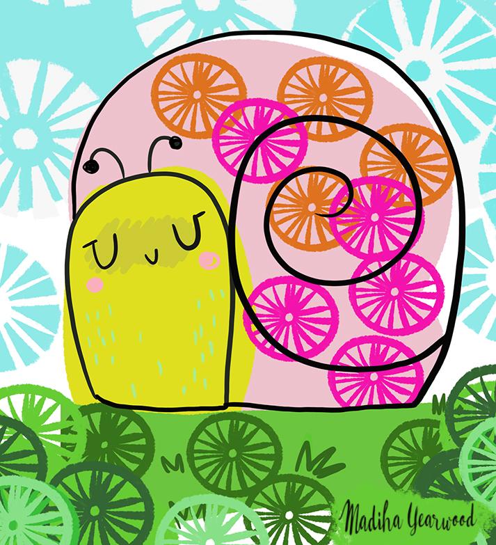 Day 34/100 a happy snail illustration