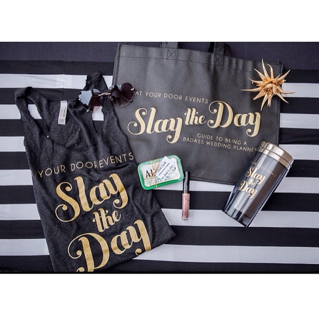 Every badass needs some swag! Each #slaytheday_ attendee walked away with this sweet tote filled with some kick ass swag. Photo credit: @kristinaleephotography / logo and branding by @papercrew /3-31-15