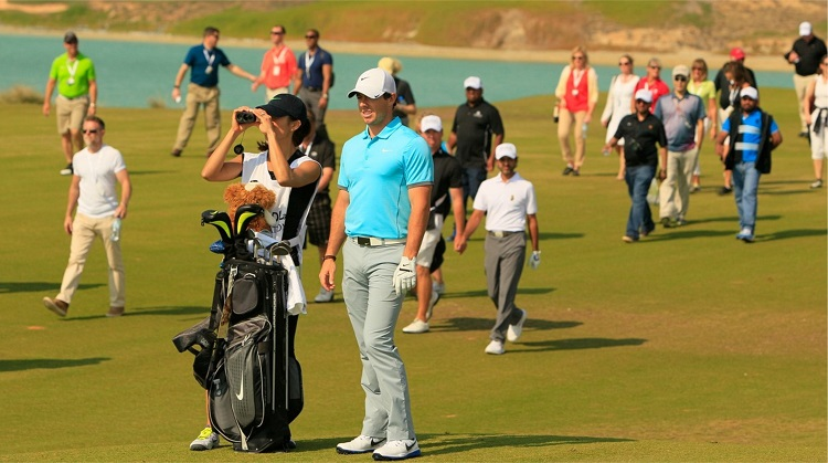 Rory McIlroy in action at Yas Links during the 2015 Abu Dhabi Invitational