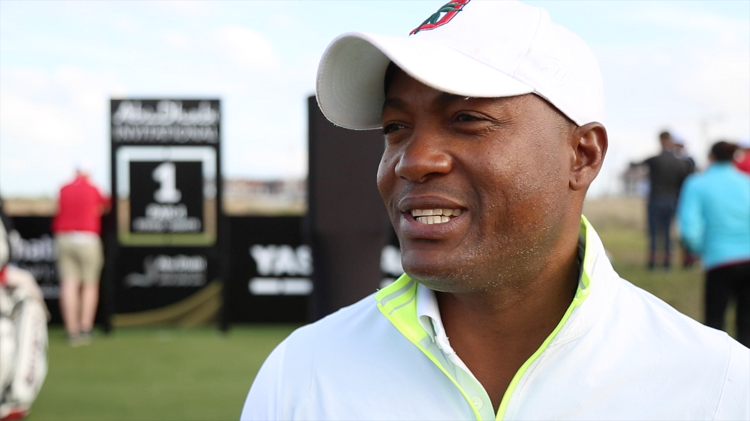 Brian Lara was in good spirits ahead of the Abu Dhabi Invitational today