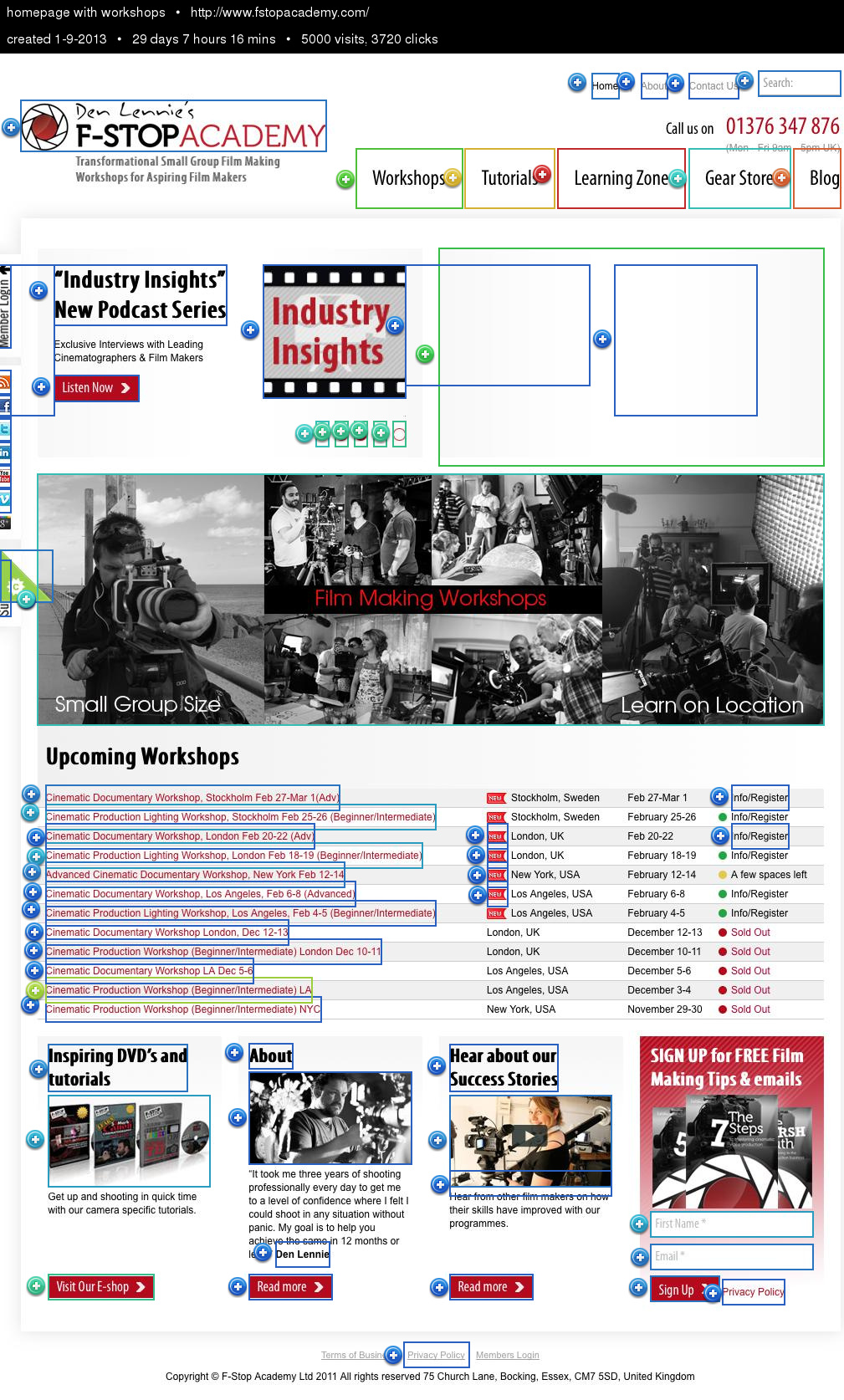 Overlay homepage with workshops, 1-9-2013