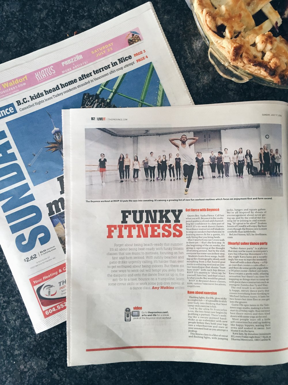 The Vancouver Sun + The Province | Shake your booty to a fitter body with these six new fitness trends | July 17, 2016