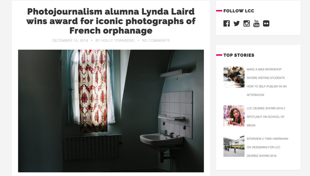 http://blogs.arts.ac.uk/london-college-of-communication/2016/12/15/photojournalism-alumna-lynda-laird-wins-award-for-iconic-photographs-of-french-orphanage/