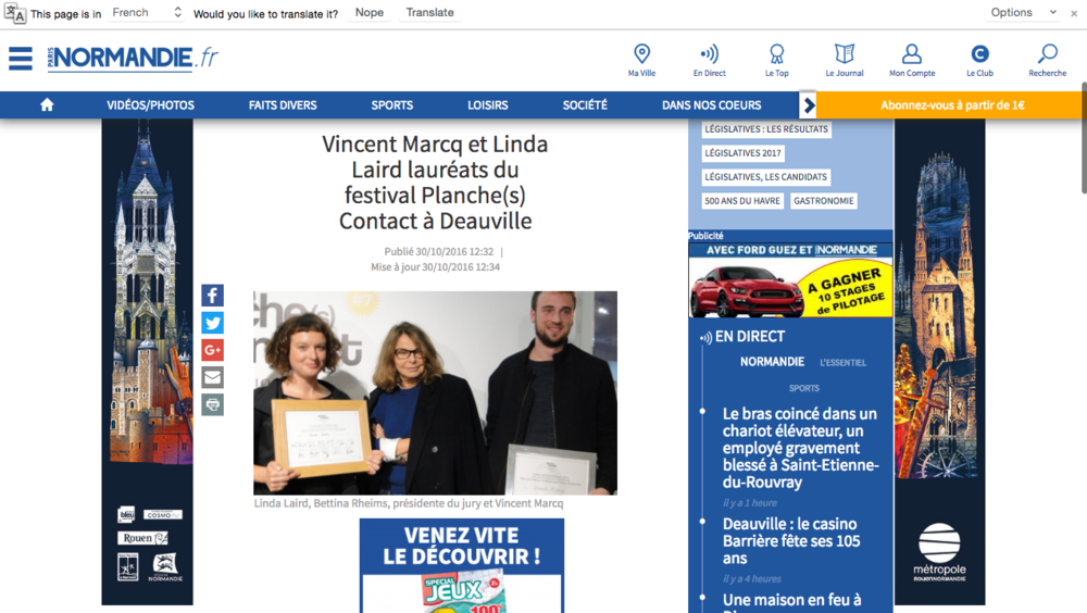 http://www.paris-normandie.fr/breves/normandie/vincent-marcq-et-linda-laird-laureats-du-festival-planche-s-contact-a-deauville-EC7260776#.WBZZIJlt1i1.facebook