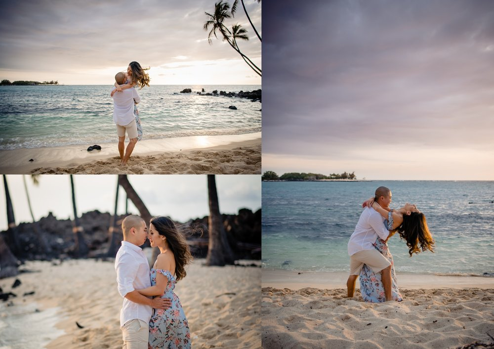 couple loving on each other during their engagement session in hawaii