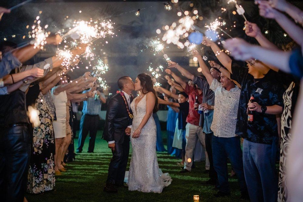 sparkler exit at hapuna wedding