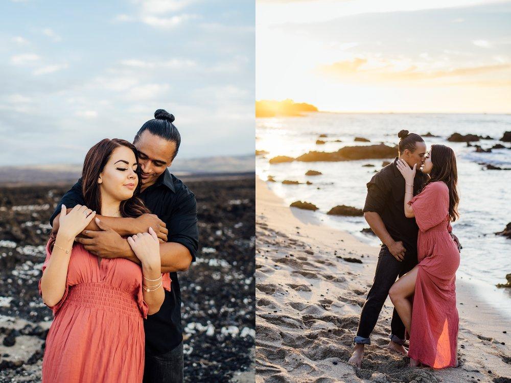 sunset embrace of loving couple on beach