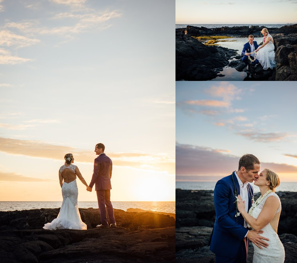 romantic couple on hawaii beach wedding