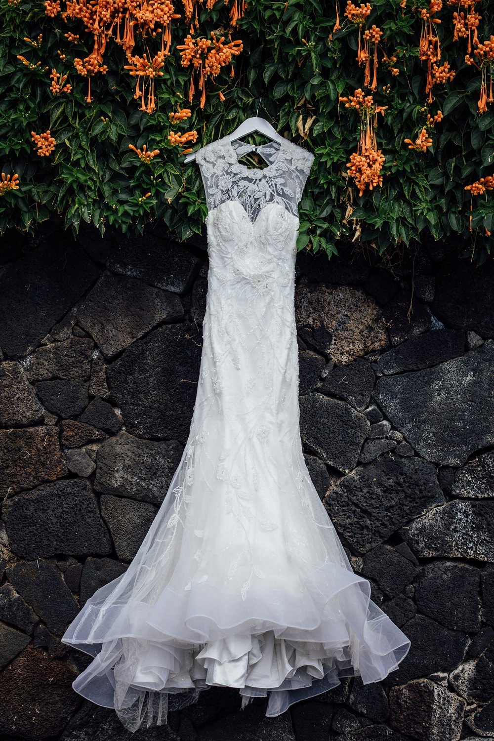 bride's dress in kona wedding