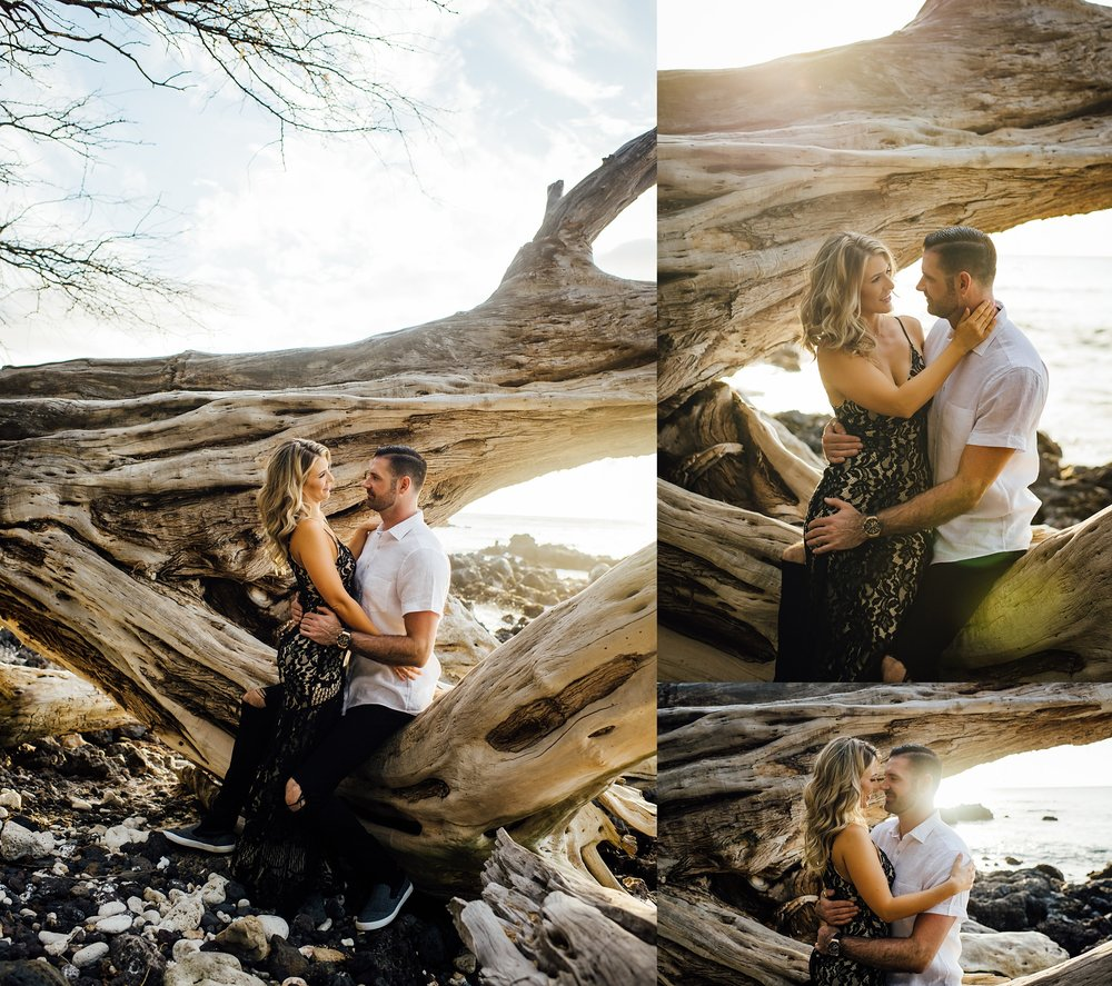 sweet image of a couple during their engagement session on the big island