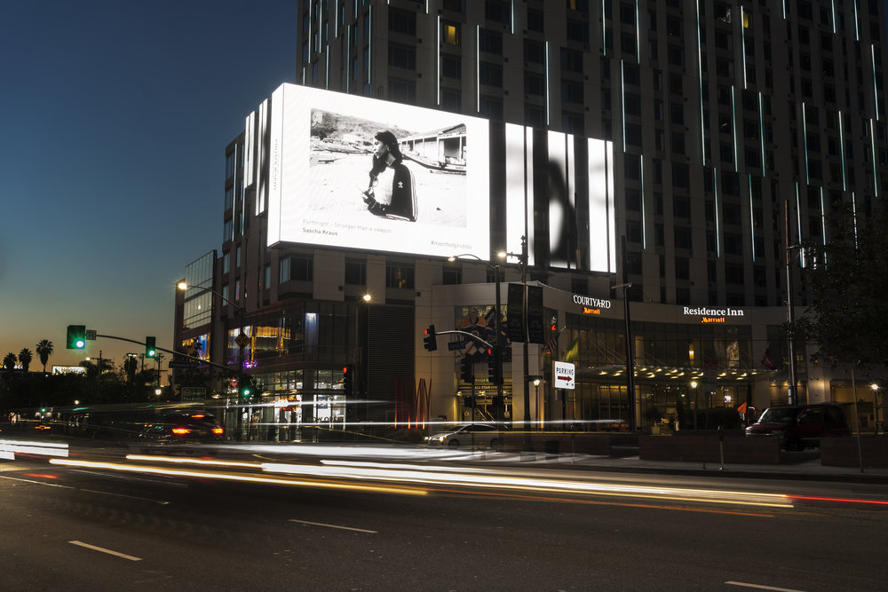 Sister Fa on the #SVLA1 Screen at the Courtyard Marriot Hotel in downtown Los Angeles, as a part of the StandardVision SV Showcase X Month of Photography Los Angeles.