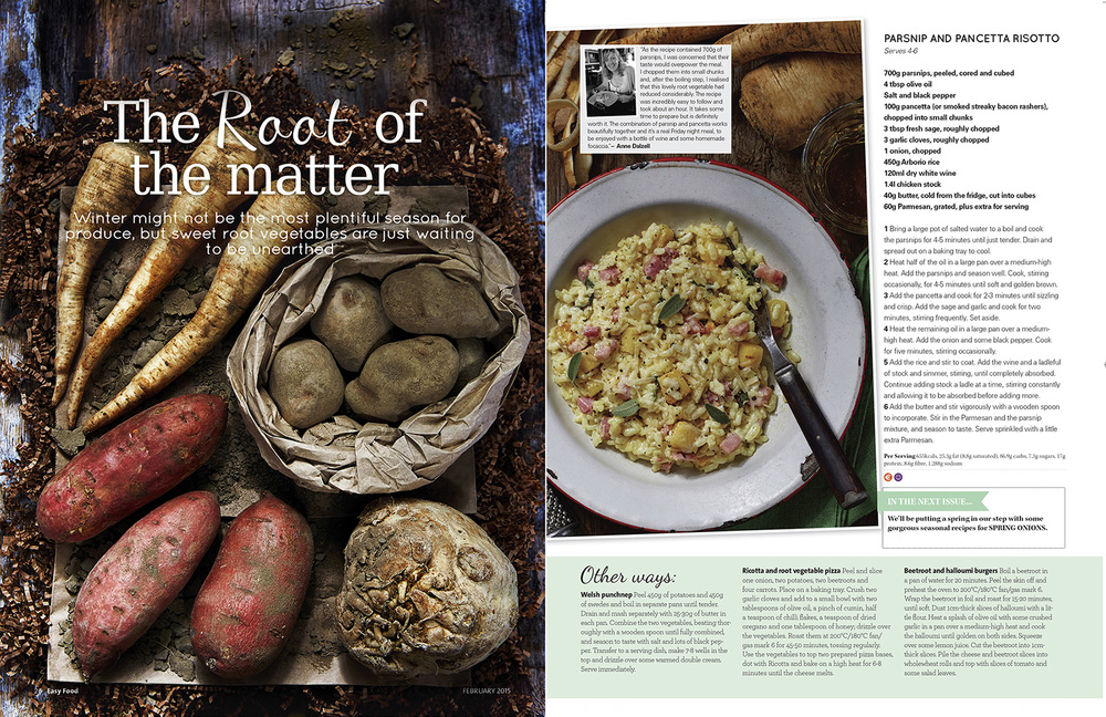 Root vegetables feature, Easy Food, February, 2015