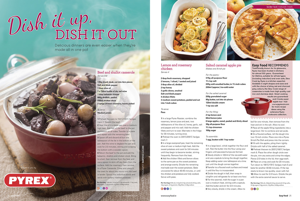 Pyrex, Easy Food, November, 2014