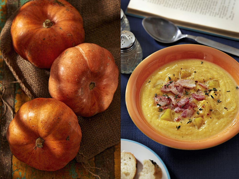 Pumpkins and cream soup with bacon, editorial, Dublin 2015