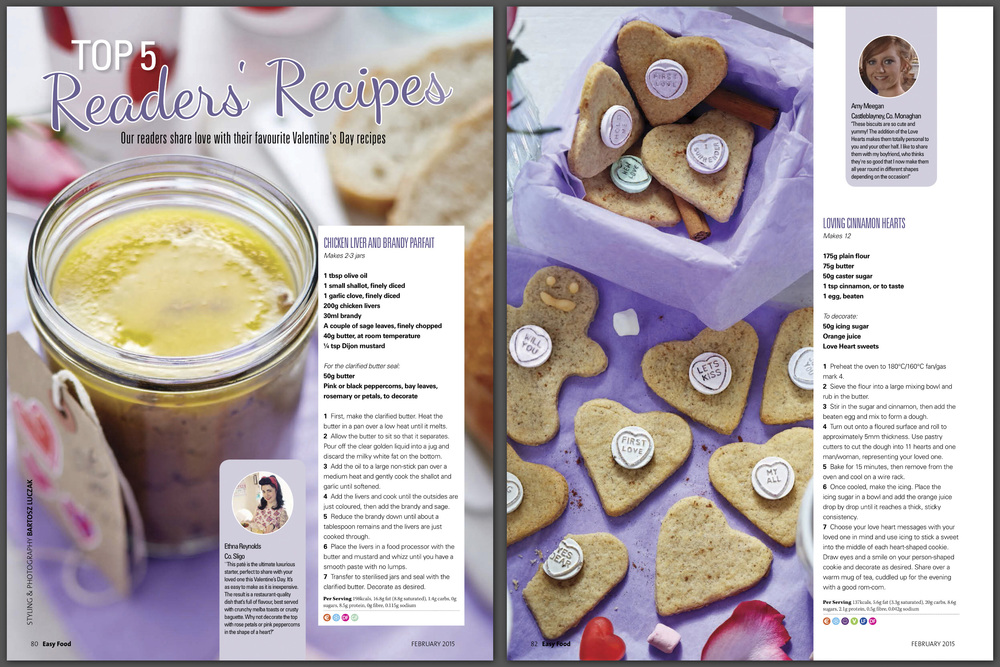 Valentines feature, Easy Food, February 2015
