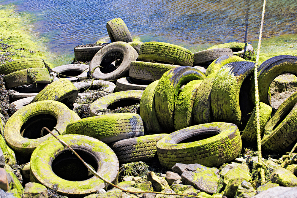 Green tyres by the ocean...