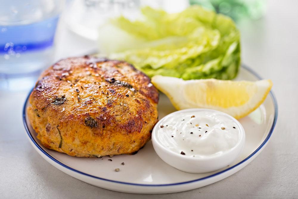 Salmon Fishcake with lettuce, Step Inn, 2017