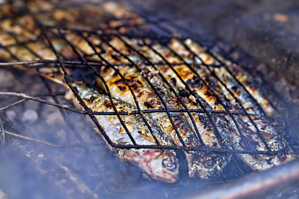 Grilled fish, Morocco, 2017