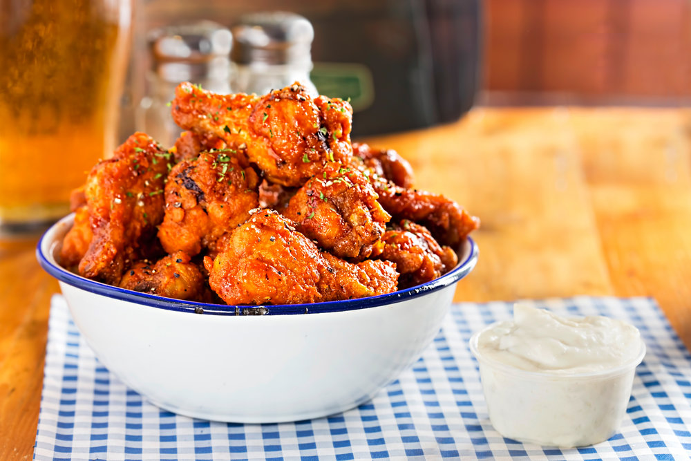 Chicken wings with blue cheese dip, Woolshed, Dublin, 2017