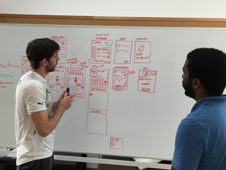 Sketching initial versions of the user flow for the mobile app
