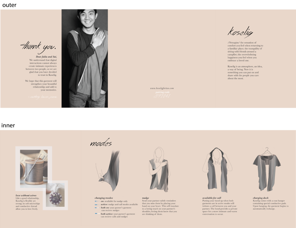 Our final product pamphlet. It is a 3-part foldable, including a foreword to what Koselig is, instructions of how to use the garment, special details of the garment, and a personalized thank you message from us to the users.