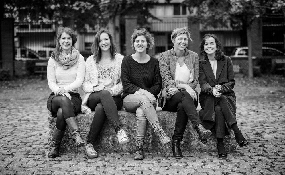 vlnr Arlind, Hanne, Febe, Elke en Chloé