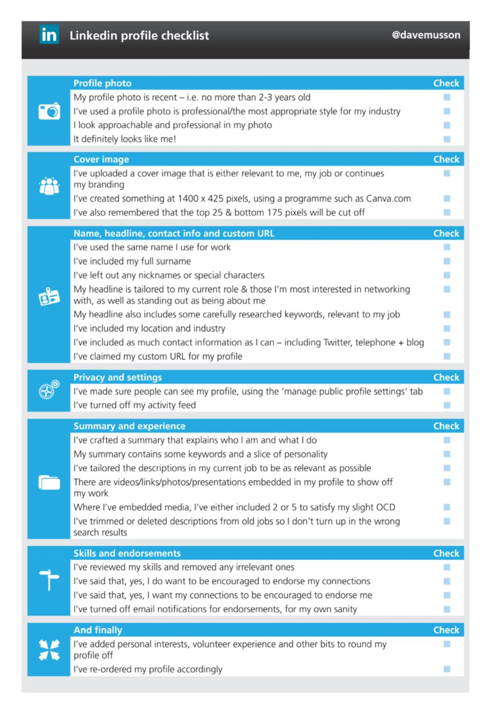 a snazzy checklist and six quick tips to turbo charge your post event i tweeted a quick screengrab of a very bland linkedin profile checklist that i d included in some of my training notes developed at warwick