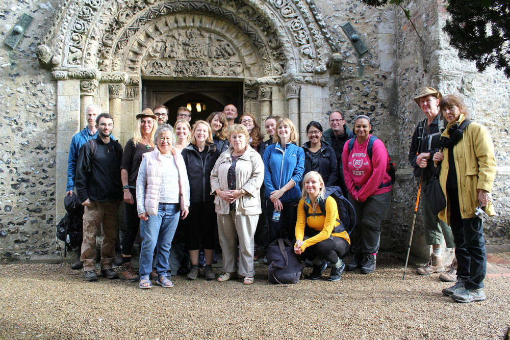 Pilgrims outside of St. Mary's Church, Patrixbourne