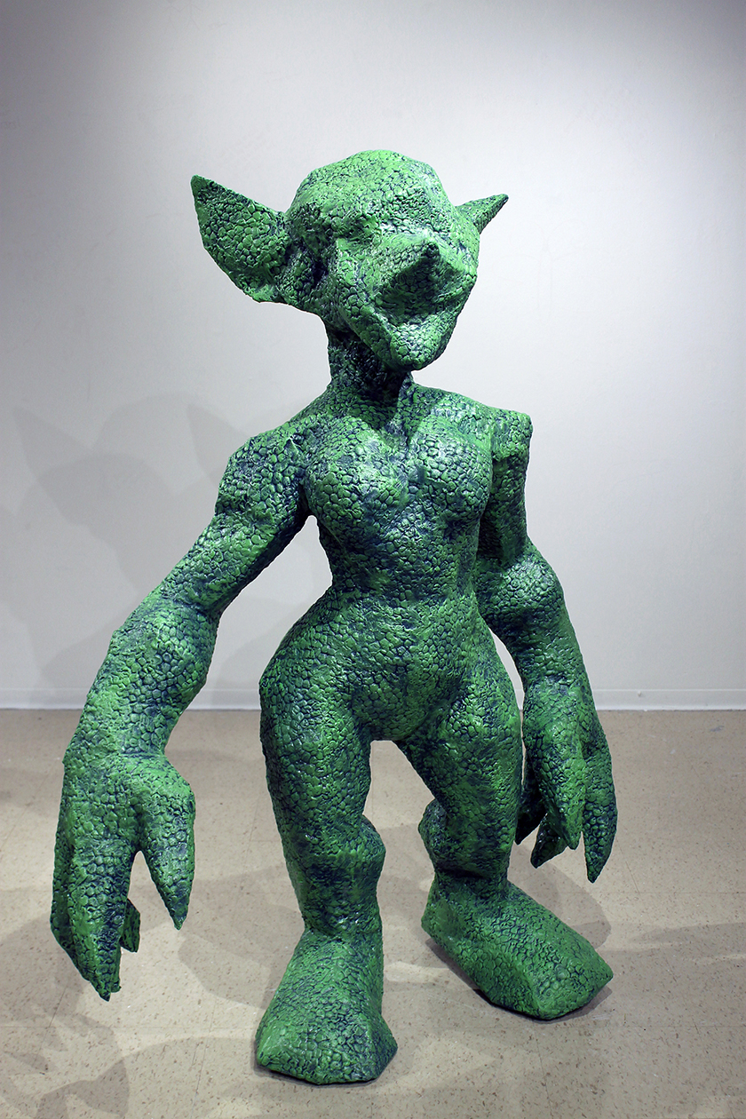 Krista/Kryzzik--paper, expanding foam, epoxy putty, acryic paint.  Built to artist's scale (5ft. 2in.).