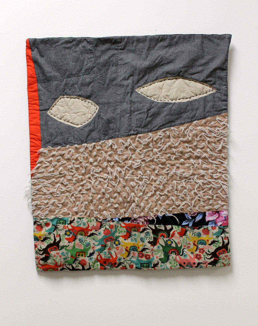 The Object of Accidents, Recycled fabrics, hand dyed cotton. Sashiko, applique, and utility quilting techniques. 2017.