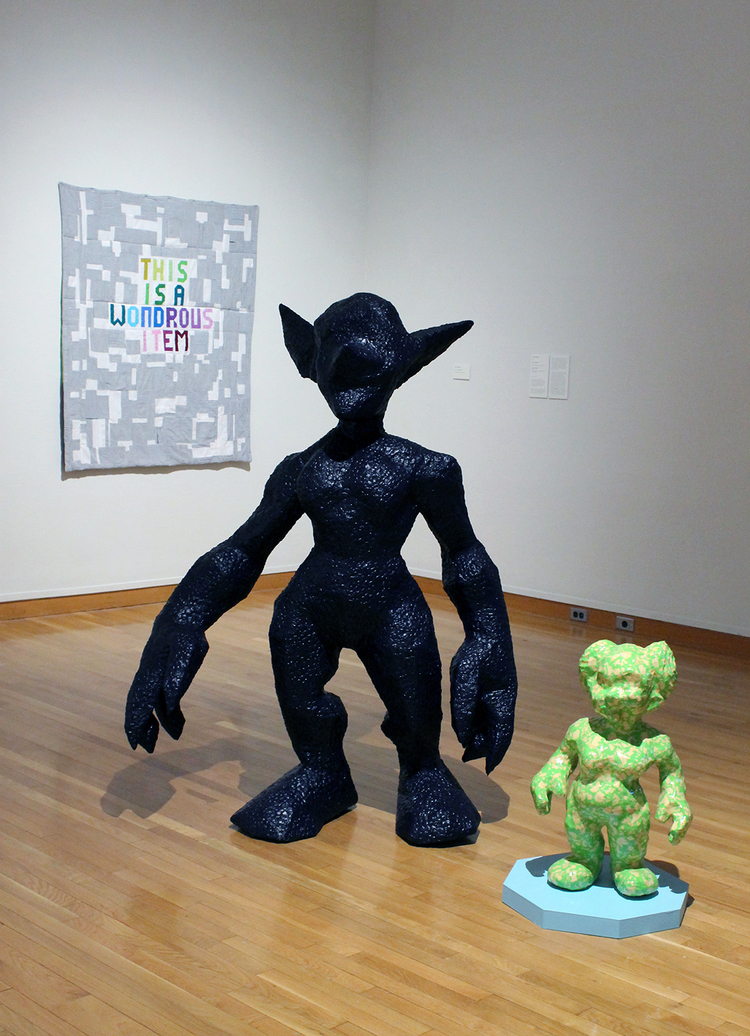 Installation view,   Screen Between  , 2016.  (pictured forground)   Otherkin: Goblin   and   Otherkin: Gnome  . (pictured background)   This is a Wondrous Item  .