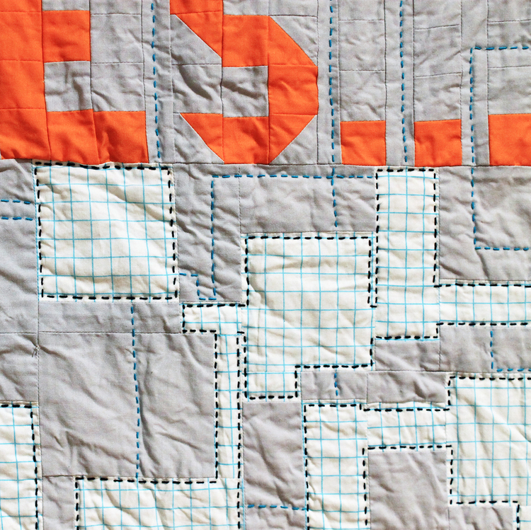 Detail,   You are in a Maze...   2016.  Cotton, hand and machine quilted.