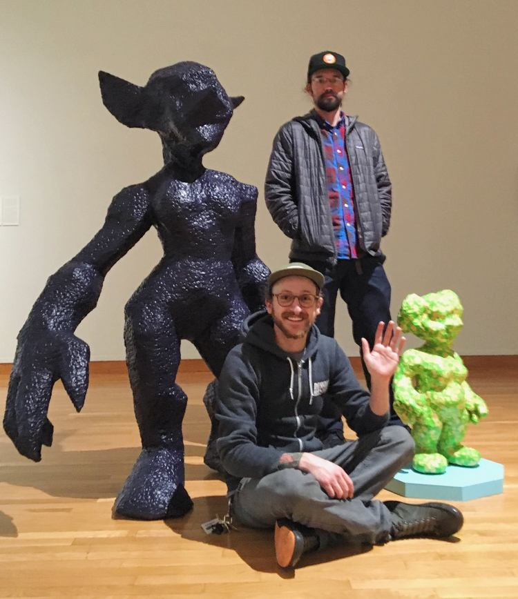 Otherkin: Goblinkin   and   Otherkin: Gnomekin  , 2016.  The Otherkin sculptures became photo ops for museum visitors (pictured are Eli Kahn and Arthur Schroeder from awesome band   After Ours ) !