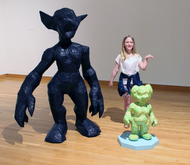 Otherkin: Goblinkin   and   Otherkin: Gnomekin  , 2016.  The Otherkin sculptures became photo ops for museum visitors!