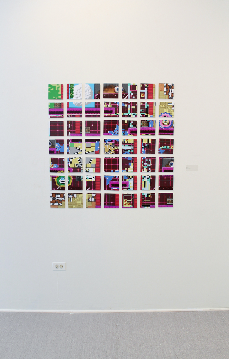 Killscreen for a Theoretical Videogame   series.  Digital prints mounted to styrene. Grid of 4 in x 4 in. tiles, 35 total tiles, 2013.