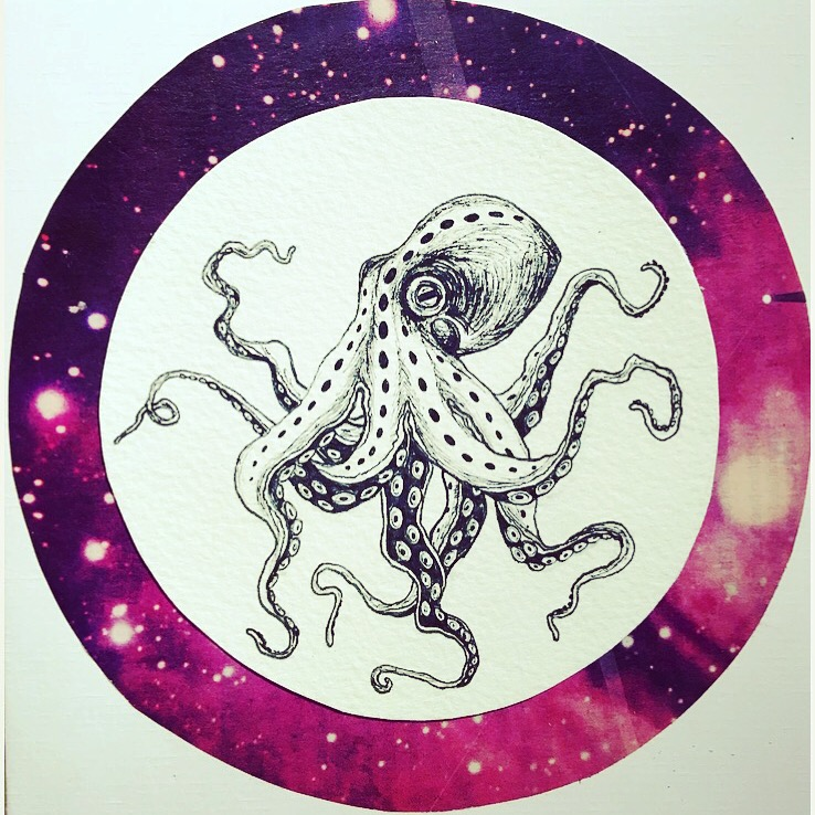 Octopus, Pen and ink. July 2016