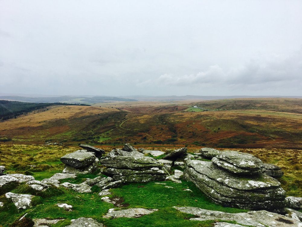 View from Birch Tor to the second highest pub in Britain!