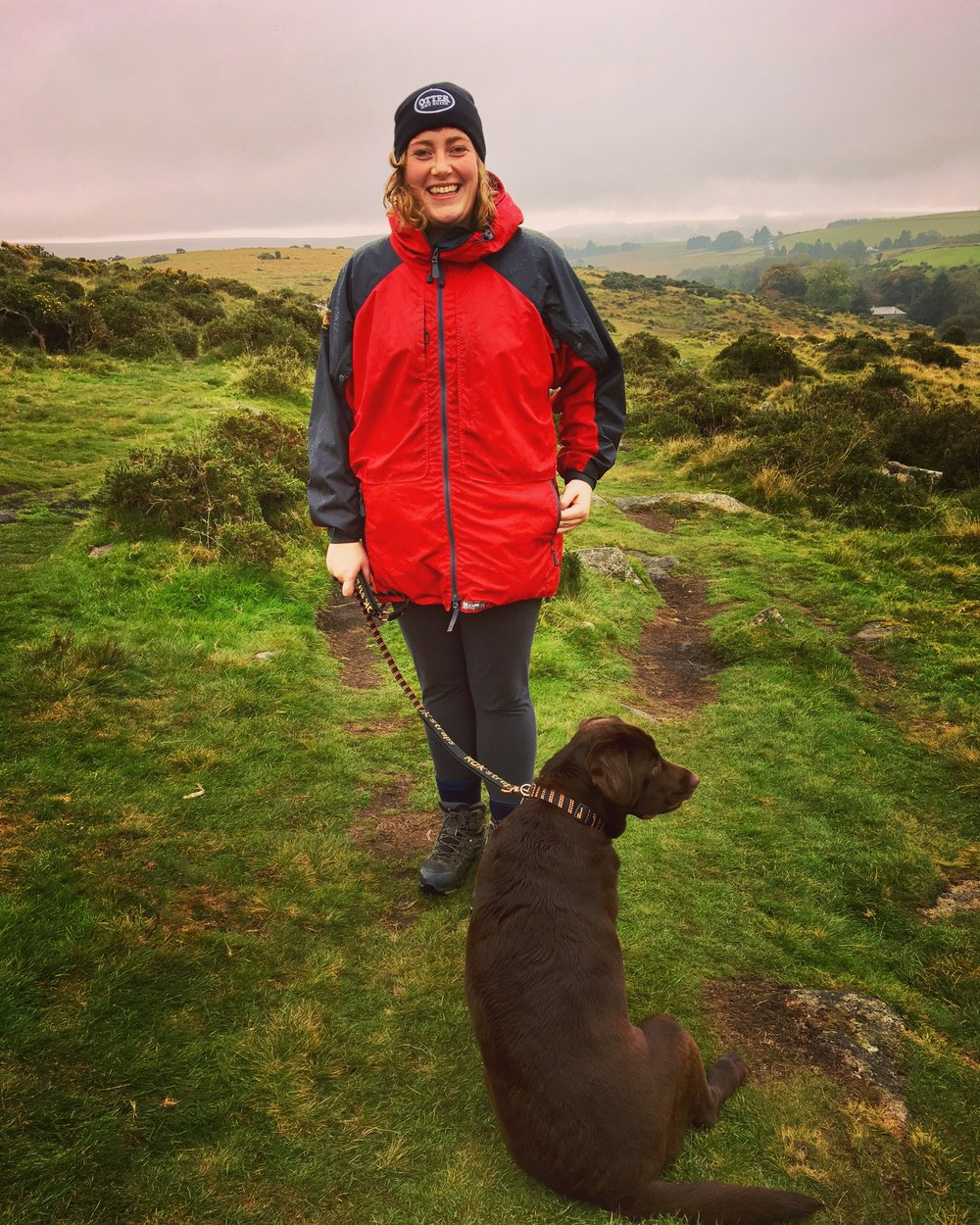 The dog and I marching in the rain!
