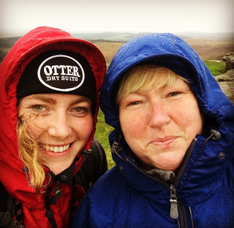Mum and I at the top of Birch Tor in the driving rain!