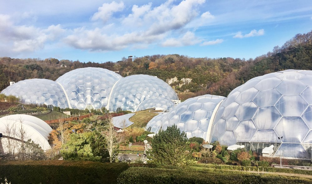 Eden Project - left is the Tropical biome, right is the Mediterranean biome (November 2016)