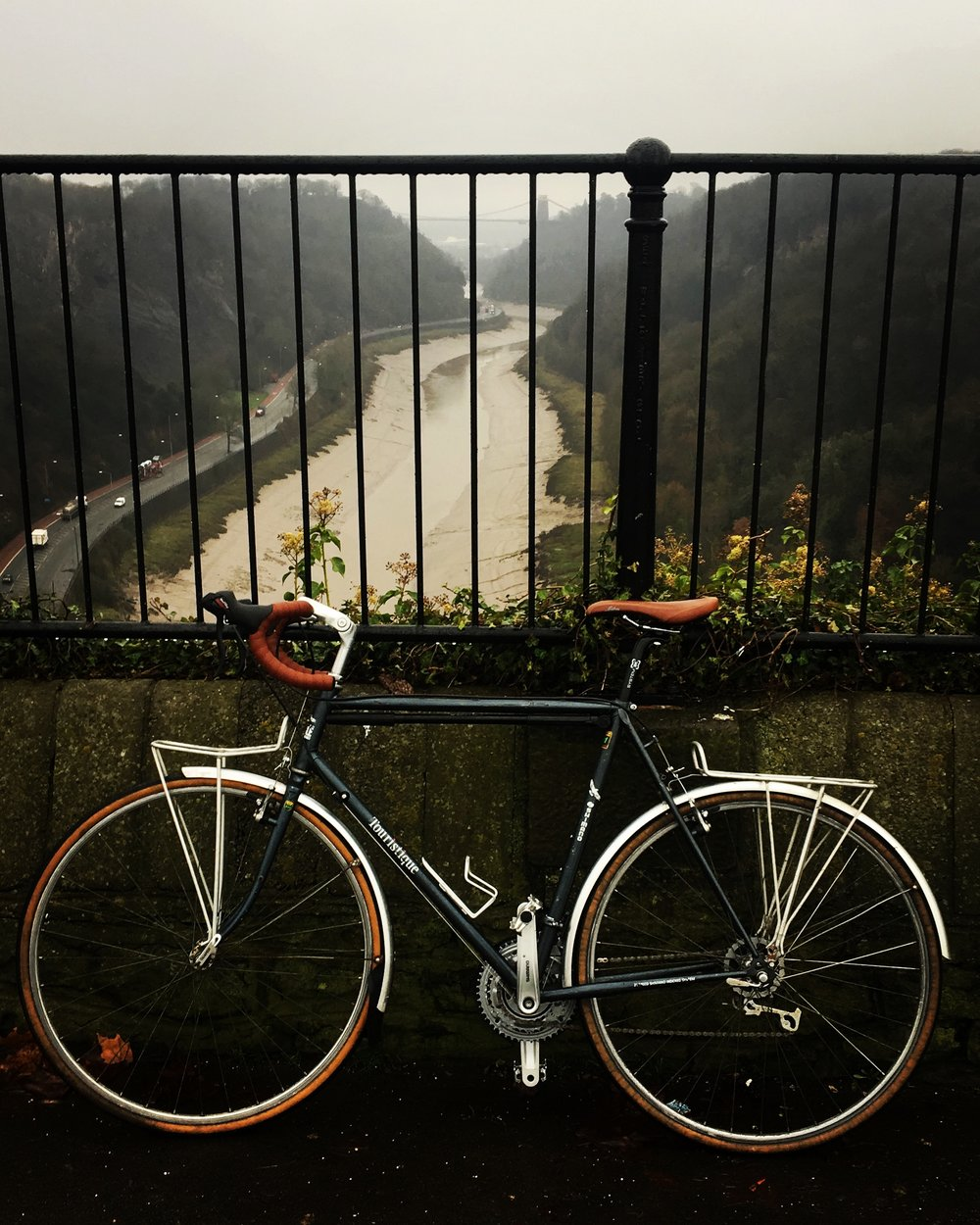 My lovely new British Eagle 513 ST in the drizzle in front of Clifton Suspension Bridge, Bristol