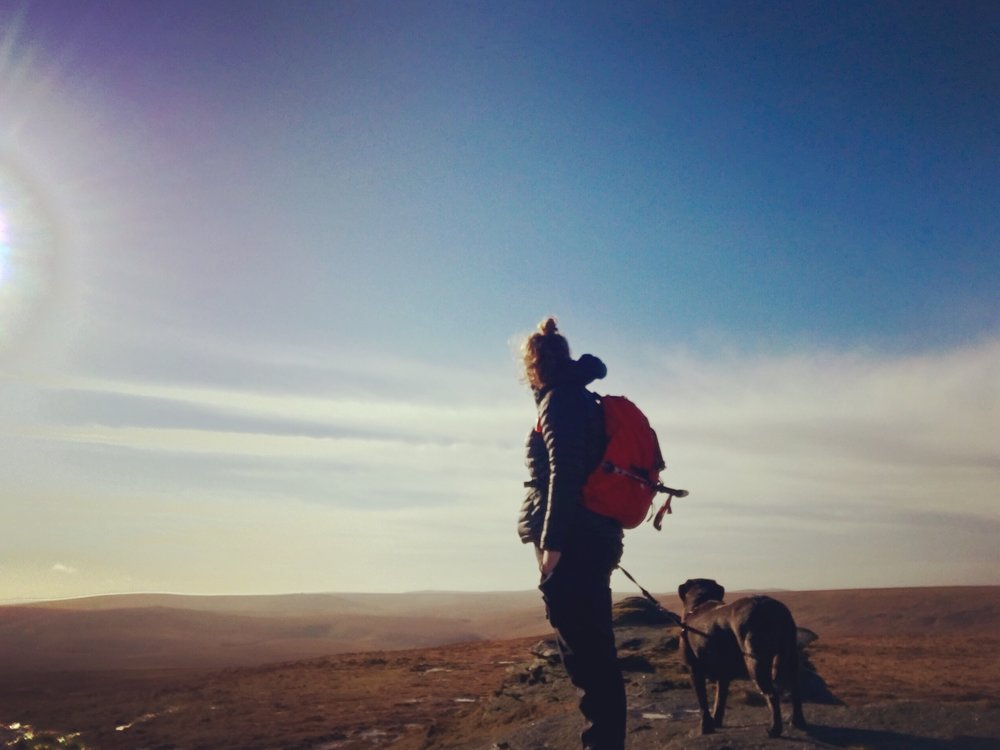 Just the dog and I, High Willhays, Dartmoor February 2017