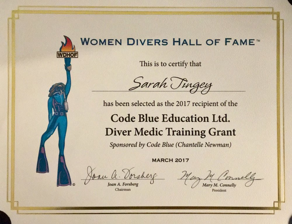 WDHOF Certificate, received at awards brunch - March 2017.