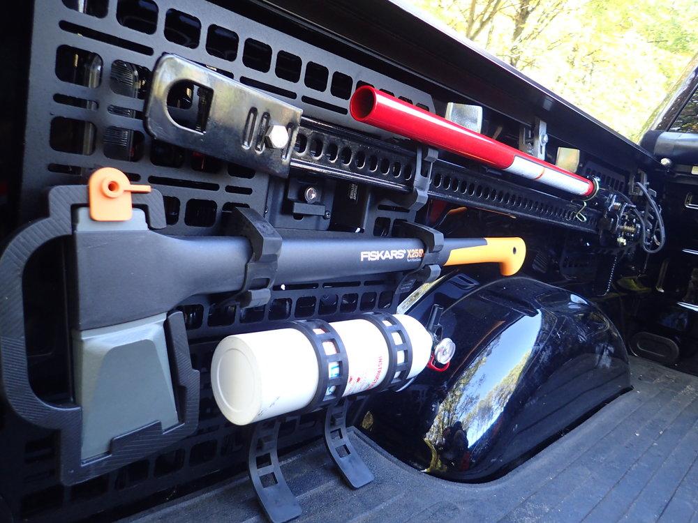 ford f-150 bedside rack raptor axe hi lift jack