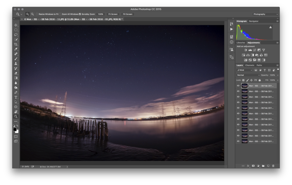All eleven shots sent to a single document in Photoshop CC as Layers