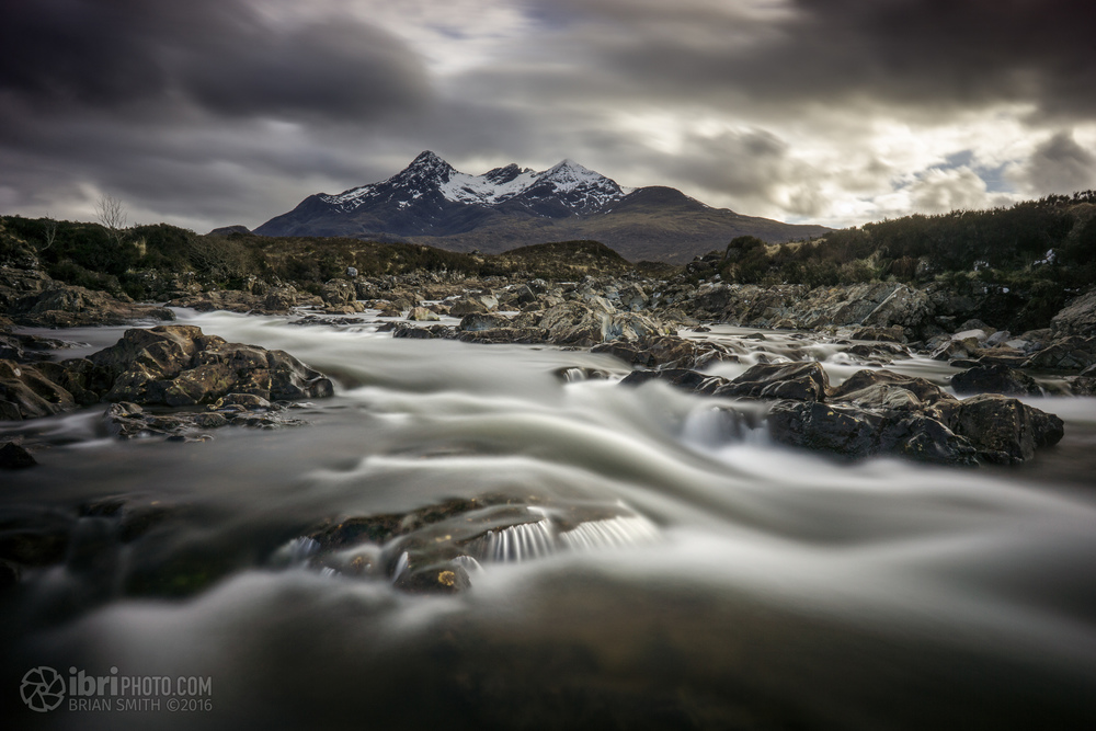 Last astop of the day was back at Sligachan. This time though, the jagged edge of Black Cuillins was out of the clouds so waded out into the middle of the river with a gorilla pod and an eight stop ND filter.