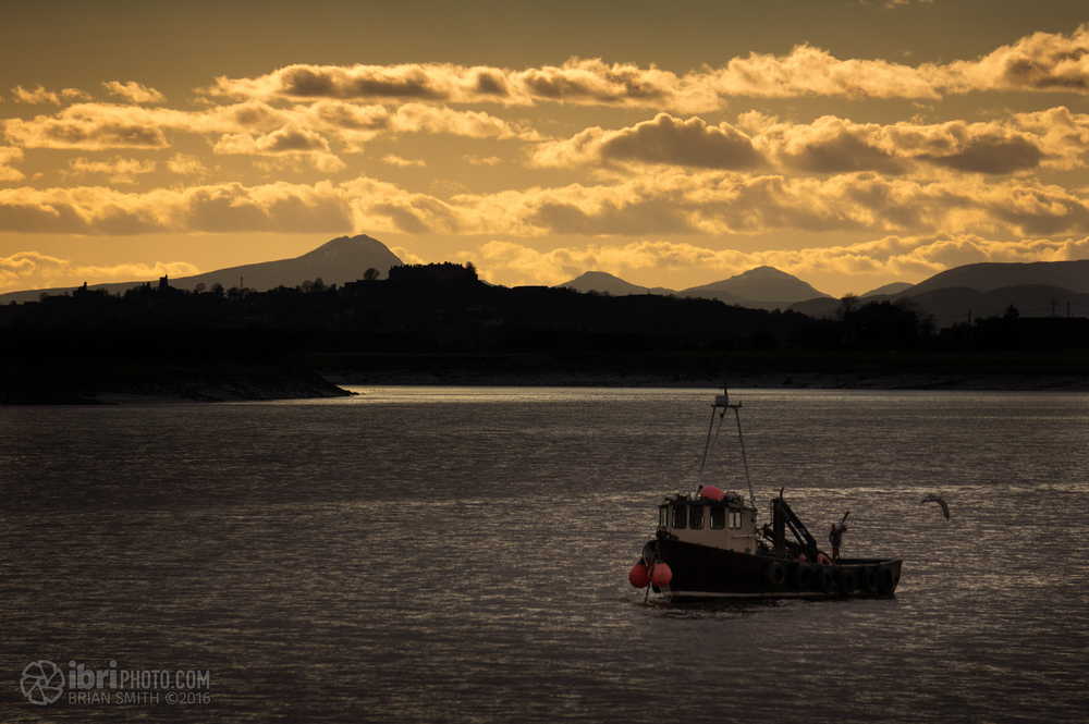 Ben Lomond behind Stirling Castle, and a boat. A Boat n' Ben.