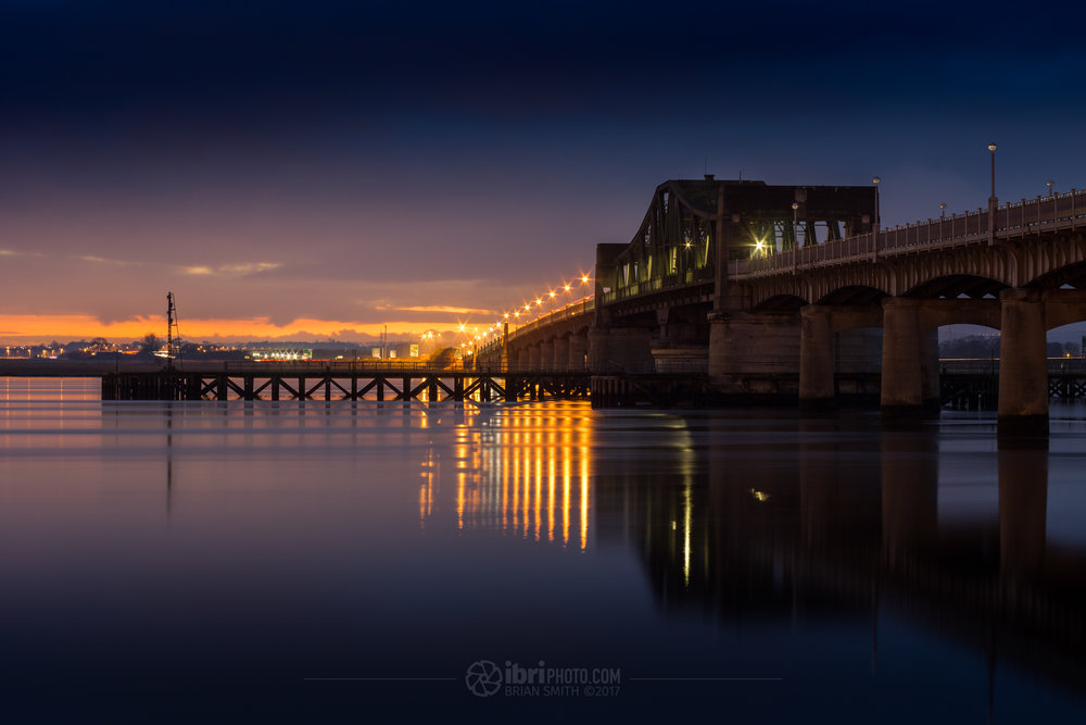 KIncardine Bridge and a  fiery skyline after sunset.