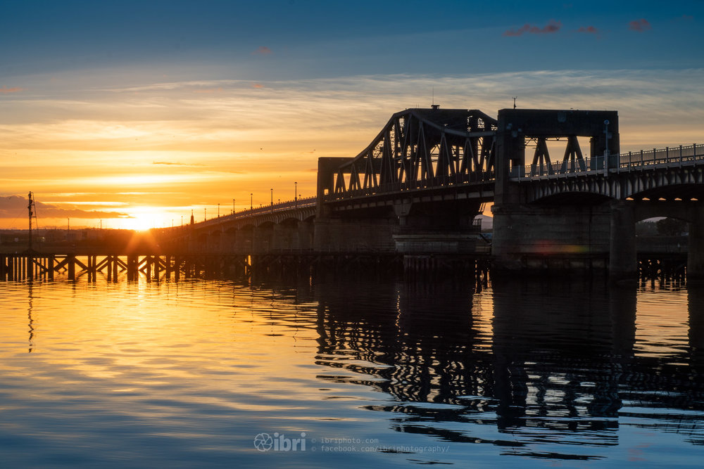 The clocks went back and the sunset came forward. Down at the 'other' bridges on the River Forth    iBri Photography  •  Facebook  •  Instagram  •  Twitter