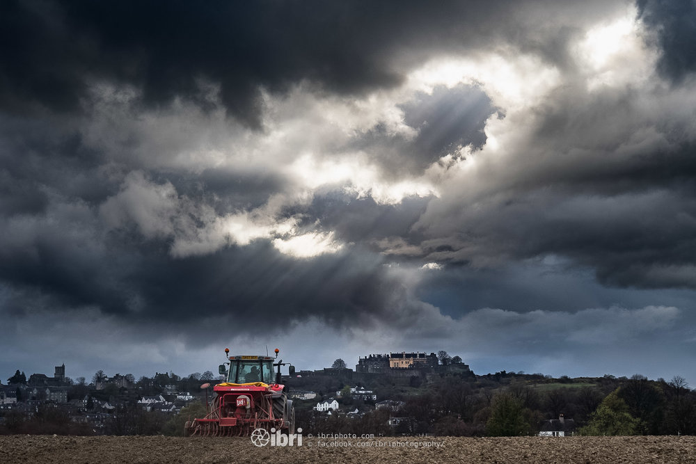 Dramatic April shower skies over Stirling.